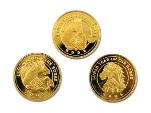 2002壬午馬年福祿壽金幣三枚套組22K