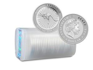 2017澳洲袋鼠銀幣1盎司〖1管25枚〗