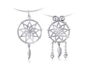 愛的捕夢網(對)銀墜項鍊