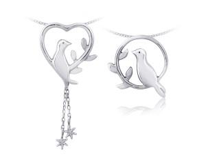 幸福青鳥Ⅱ(對)銀墜項鍊