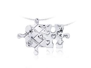 愛戀拼圖(對)銀墜項鍊