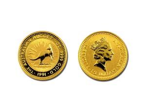 1991澳洲袋鼠金幣0.1盎司