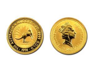 1991澳洲袋鼠金幣0.25盎司