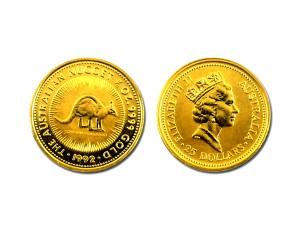 1992澳洲袋鼠金幣0.25盎司