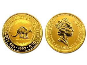 1992澳洲袋鼠金幣0.5盎司