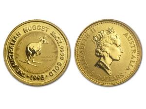 1993澳洲袋鼠金幣0.05盎司