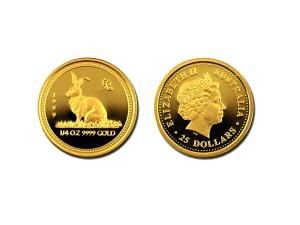 1999澳洲生肖兔金幣0.25盎司
