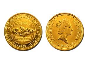 1987澳洲鴻運金幣0.25盎司