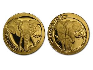 1996南非自然-大象金幣0.1盎司
