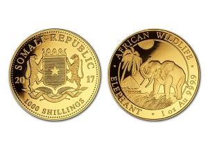 2017索馬利亞非洲象金幣1盎司