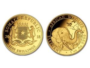 2018索馬利亞非洲象金幣1盎司