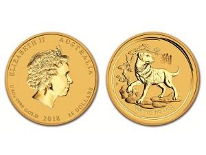 2018澳洲生肖狗金幣0.25盎司