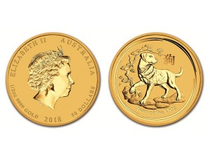 2018澳洲生肖狗金幣0.5盎司