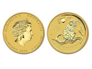 2016澳洲生肖猴金幣0.05盎司