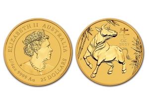 2021澳洲生肖牛金幣0.25盎司(系列III)