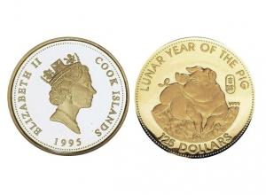 1995庫克群島生肖豬珍藏金幣8克