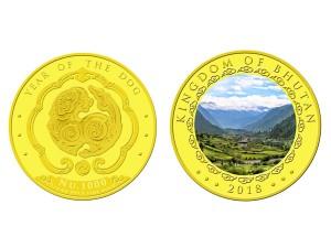 2018不丹-生肖狗精鑄金幣0.25盎司