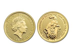 2021英國李奇曼白灰狗金幣0.25盎司