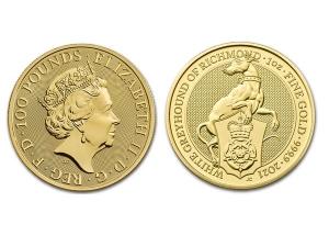 2021英國李奇曼白灰狗金幣1盎司