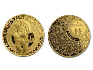 2018法國-生肖狗精鑄金幣0.25盎司