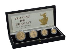 1989大不列顛女神金幣套幣四枚組