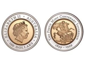 1999澳大利亞珀斯鑄幣廠百週年紀念幣金銀幣