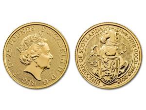 2018英國蘇格蘭獨角獸金幣0.25盎司