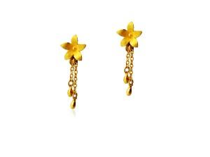 黃金夾式耳環-花