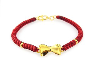 編織手環-黃金串飾-蝴蝶結