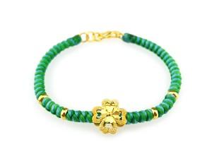 編織手環-黃金串飾-幸運草