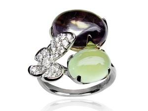 有色寶石(葡萄石) 鑽戒