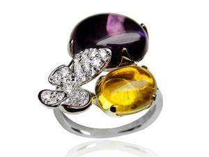 有色寶石(黃‧紫) 鑽戒