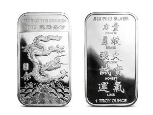 2012美國生肖龍年銀條1盎司