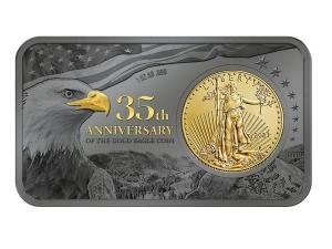 2021美國鷹揚35週年金銀條1.1盎司