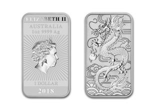 2018澳洲龍雕銀條1盎司