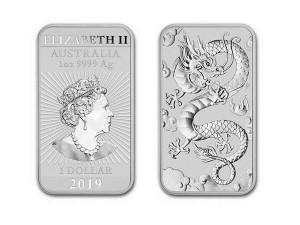2019澳洲龍雕銀條1盎司