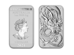 2021澳洲龍雕銀條1盎司