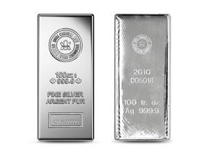 加拿大皇家銀磚100盎司(.9999)