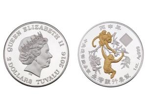 2016中央造幣廠丙申猴年銀幣1盎司(鍍金版)