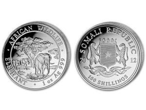 2012索馬利亞非洲象銀幣1盎司
