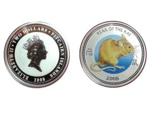 2008紐西蘭鼠年限量彩版銀幣1盎司