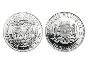 2013索馬利亞非洲象銀幣1盎司