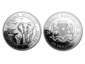 2015索馬利亞非洲象銀幣1盎司