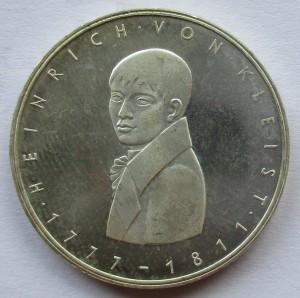 1977德國5馬克 - 卡爾·海因里希·馮·克萊斯特誕生200週年紀念