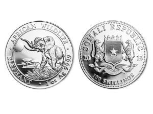 2016索馬利亞非洲象銀幣1盎司