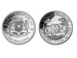 2019索馬利亞非洲象銀幣1盎司