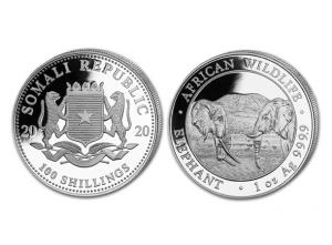 2020索馬利亞非洲象銀幣1盎司