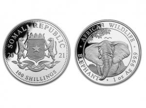 2021索馬利亞非洲象銀幣1盎司