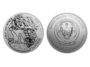 2018非洲盧旺達長頸鹿銀幣1盎司