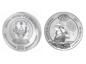 2017非洲盧旺達大航海時代-哥倫布聖瑪利亞號銀幣1盎司